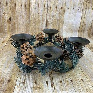 PartyLite Pinecone Candleholder Wreath Centerpiece